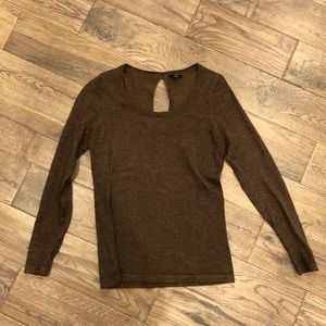 Ann Taylor Sparkly Brown Small Sweater Blouse
